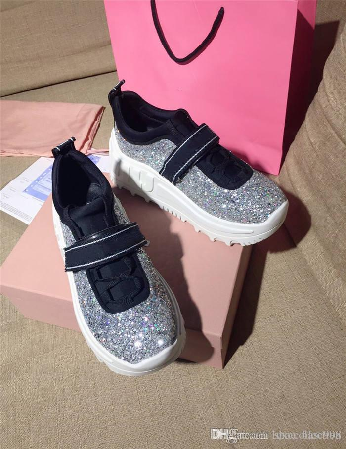 Femmes Glitter Chunky Bas Chaussures de sport, baskets classiques avec ton argent lacent surdimensionné Sneaker Avec boîte 35-40