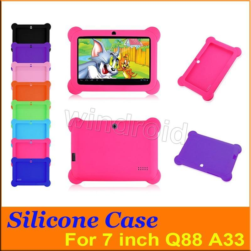 Multi-color Anti Dust Kids Child Soft Silicone Rubber Gel Case Cover For 7 7 Inch Q88 A33 A23 Android Tablet pc MID Free shipping 50pcs