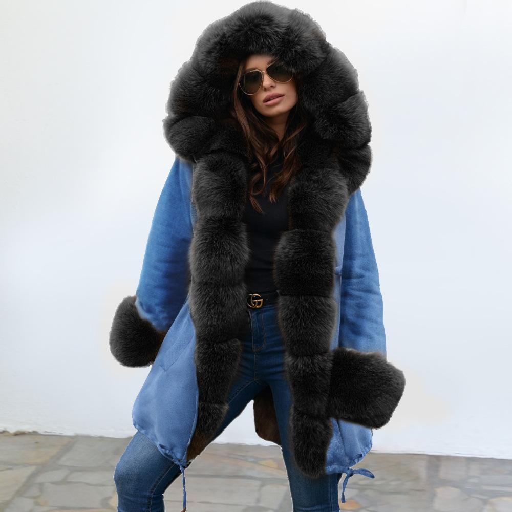 Kürk Lüks Kış Coats ile Moda Kadınlar Tasarımcı Ceket Ceket Sıcak ceketler Uzun Stil Açık Giyim Coats Boyut S-2XL tutun