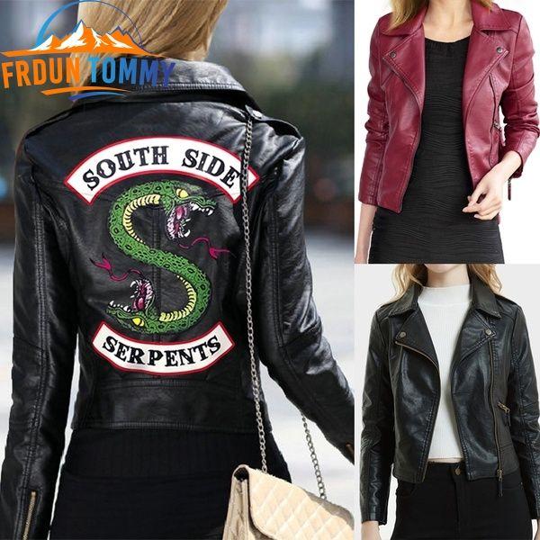 Hot TV Riverdale Southside Nova Primavera Riverdale Southside Serpent Kpop Fãs Zipper PU Jacket Mulheres Coats Slim Fit Jacket Roupa