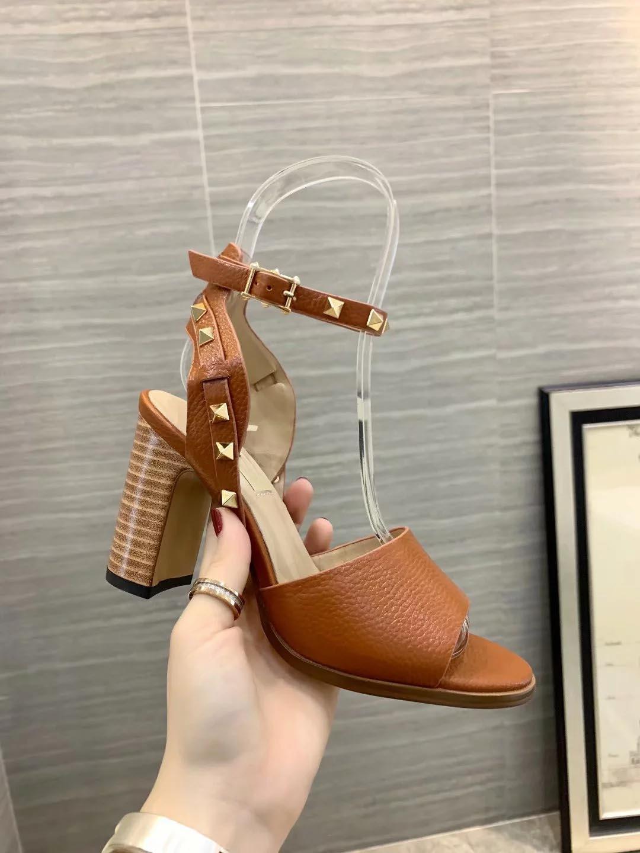 Tasarımcı Kadınlar Renkli Topuklar 8.5cm Sandalet Üst Kalite T-kayışı Yüksek topuklu Bayan Bayan Rugan Elbise Tek Ayakkabı Topuklu