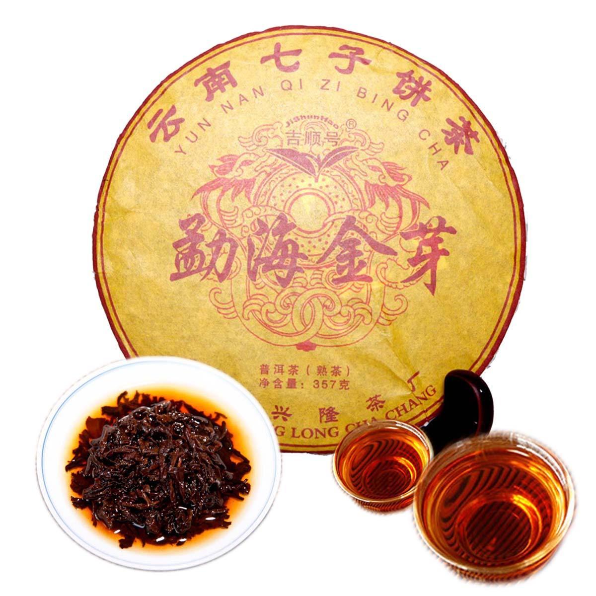 Tercih 357g Yunnan Menghai Altın Bud Olgun Puer Çay Kek Organik Doğal Siyah Pu'er Çay Yaşlı Ağaç Pişmiş Puer Çay
