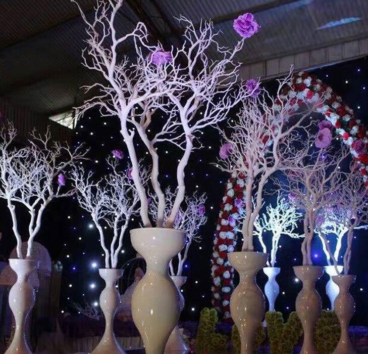 92cm de plástico Coral rama de árbol de bricolaje boda Camino que lleva Inicio decoración de jardín flor blanca de la pared Coral Ramas decoración de la pared de la planta