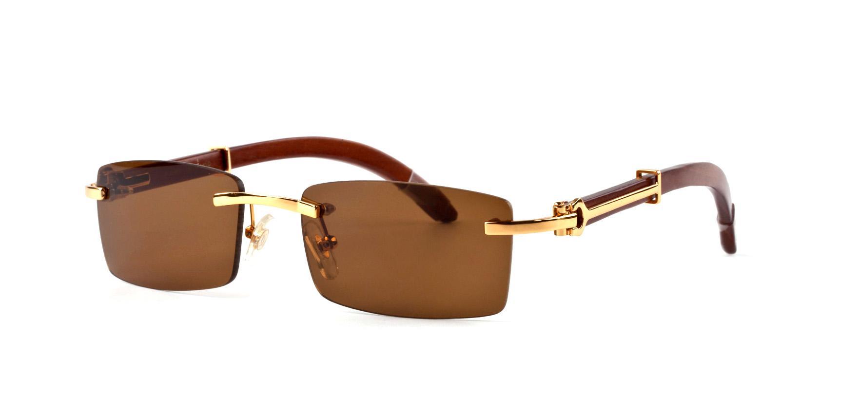 Luxo-Nova chegada 2018 óculos de sol da marca para as mulheres dos homens óculos chifre de búfalo sem aro designer de madeira de bambu óculos de sol com caixa caixa lunettes