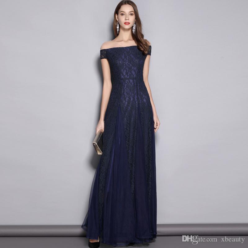 2019 femmes v cou manches courtes broderie dentelle élégante soirée de bal sexy maille posée sur élégante longue piste robes