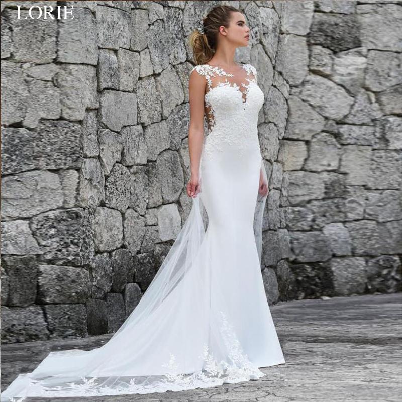 Lorie Mermaid Wedding Dresses Turkey 2019 Lace Appliques Bridal Dress Custom Made Wedding Gown Vestidos De Noiva Plus Size Y19072901