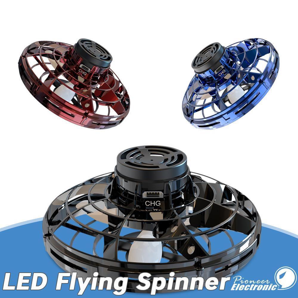 Listo para el envío FlyNova volar juguete El mejor precio portátil 360 ° Rotación Peonza lanzamiento de la tensión de Navidad para niños juguetes del regalo