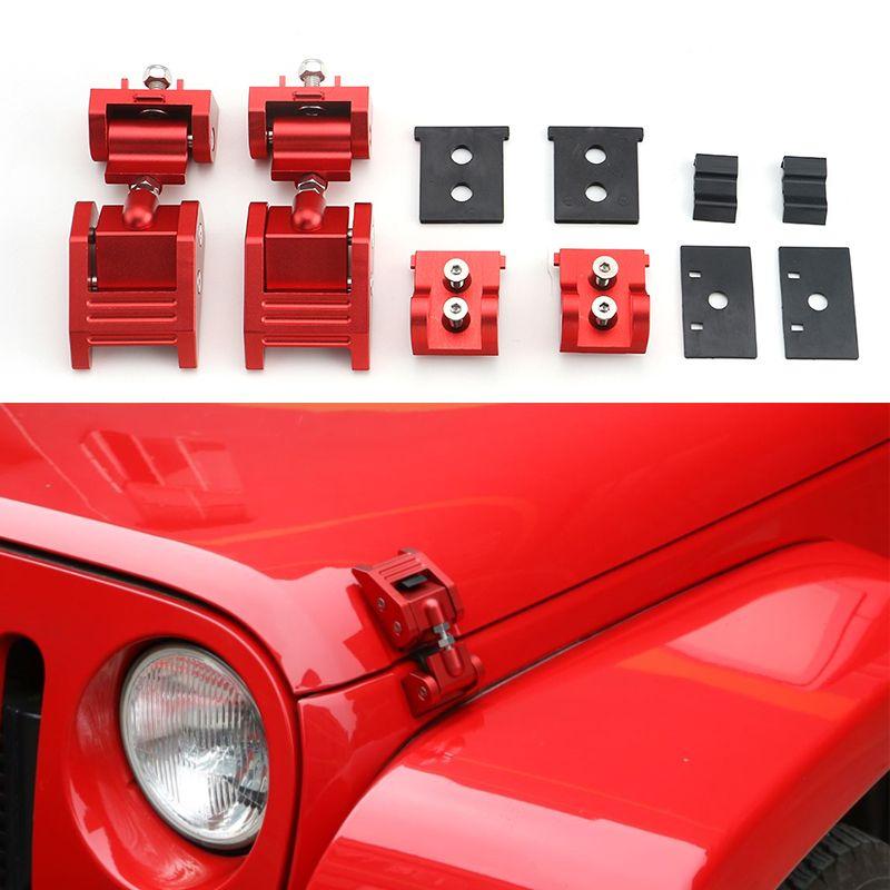 Rote Aluminium Verbündete Kapuze Latches Hood Catch Latch Set für Jeep Wrangler JK 2007-2017 Auto Außen Zubehör