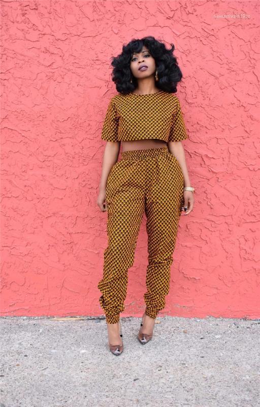 Trajes de moda estilo africano impresión impresión con cuello corto manga corta dos piezas pantalones mujeres ropa de verano mujeres dos piezas