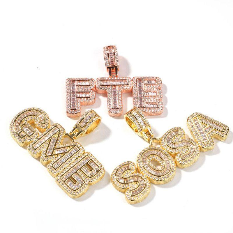 Hotsale Hip Hop Пользовательское имя Багет Письмо ожерелье с свободной Rope цепи Золото Серебро Bling Цирконий Мужчины кулон ювелирные изделия