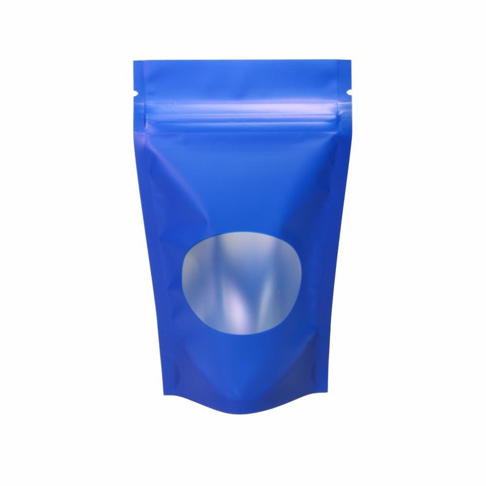 Customized Logo! 8.5x14CM Matte Blue/ Gold/ Green/ Black Zip Lock Bag Aluminium Foil Mylar Stand Up Zipper Pouch W/ Oval Window