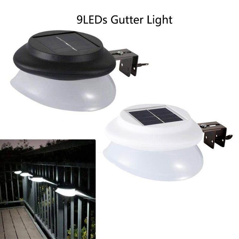 Solar Gutter Light Outdoor Garden 9 LED Super Bright Waterproof Fence Light Yard