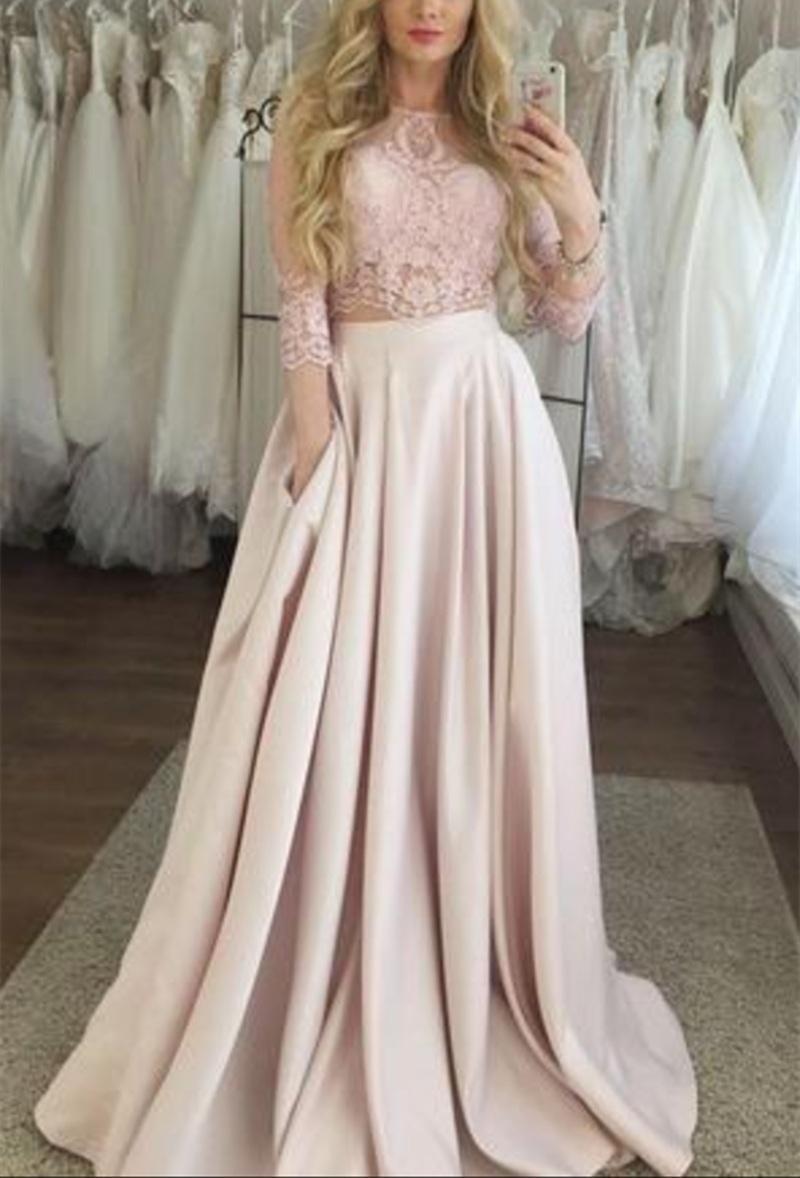 Großhandel Pearl Pink Zweiteiler Abendkleid Mit Spitze 9/9 Ärmeln Langes  Abendkleid Von Feliru, 99,19 € Auf De.Dhgate.Com  Dhgate