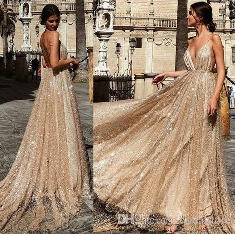 Sparkly Bling Sequins Prom Dresses Deep V Neck Straps Full Length Boho Backless Special Occasion Evening Gown Cheap Robes en paillettes 2019
