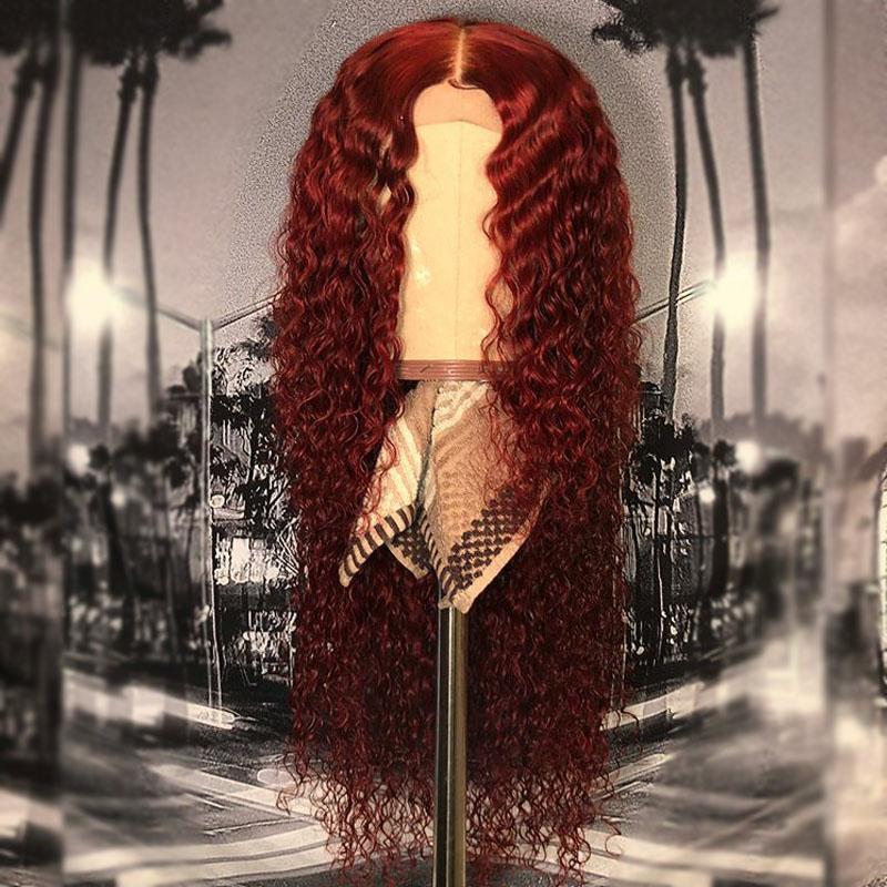 99j perruque de cheveux humains bouclés brésiliens de couleur 13x6 perruque frontale de dentelle préplucked avec des cheveux de bébé Bourgogne pleine perruque de dentelle Remy