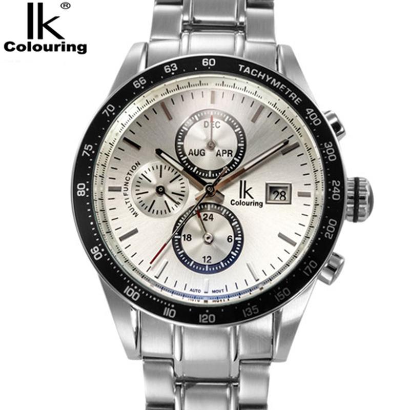 IK 색칠 모든 스틸 높은 품질 자동 기계 시계 남성 톱 브랜드 3 다이얼 달력 표시 비즈니스 손목 시계