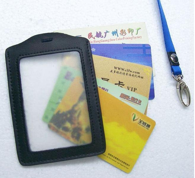 MIWIND Genuine Leather Badges Holders,Transparent Work Permit Card Case,Work ID Card Genuine Leather Holders,Case With Lanyard