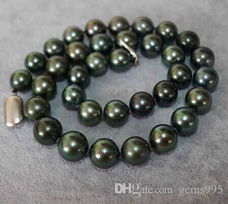Eleglant 10-11mm tahitian naturais pavão pérola redonda verde colar de 19 polegadas fecho prata 925