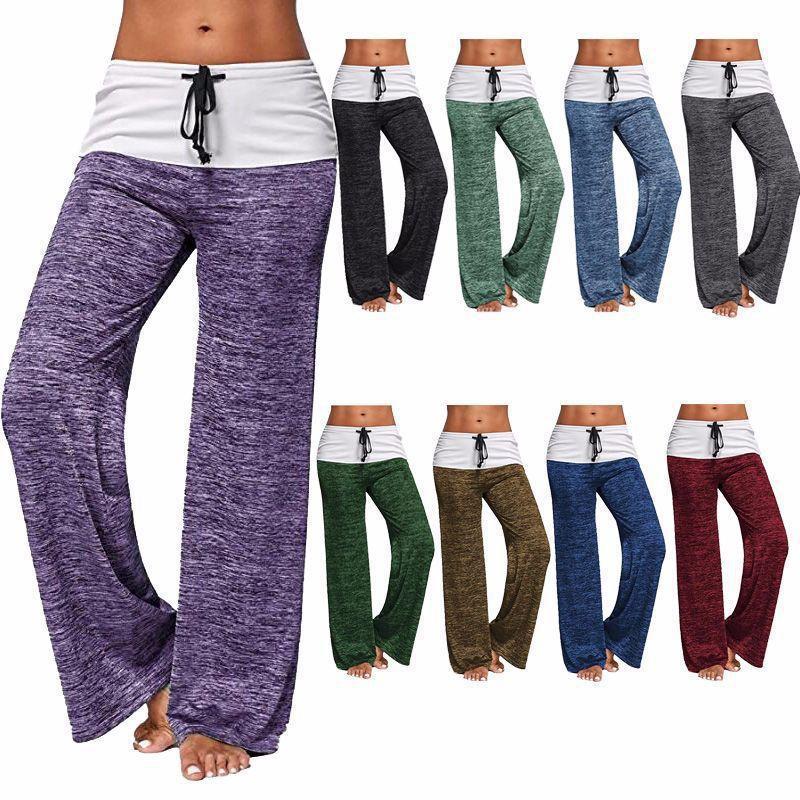Pantaloni Pantaloni sport delle donne allentato Yoga Leggings Pantaloni Moda Formazione Esercizio asciugatura rapida informale all'aperto pantaloni gamba larga