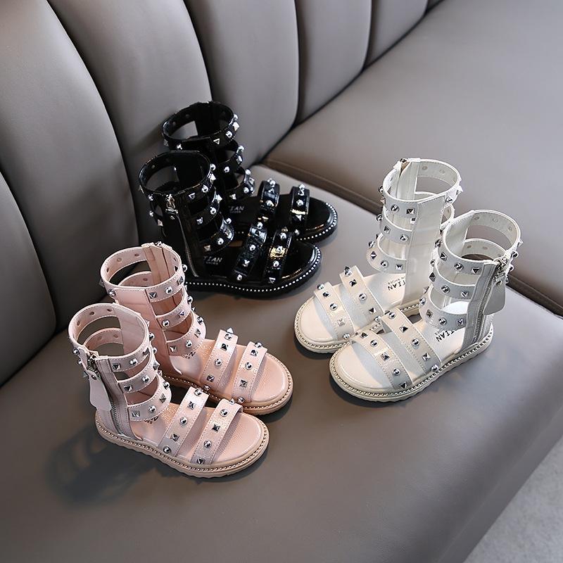Маленькие девочки гладиаторские сандалии сапоги скраб заклепки кожа лето коричневый черный высокий топ мода римские детские сандалии малыш Детская обувь M200604