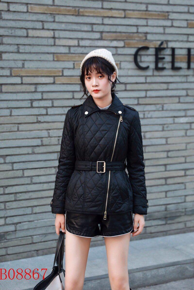 المرأة الملابس المحشوة بالقطن قصيرة ضئيلة سترة مبطن سستة منحرف حزام منقوشة معطف سميك أزياء السيدات بسيطة الملابس الشتوية QQ2