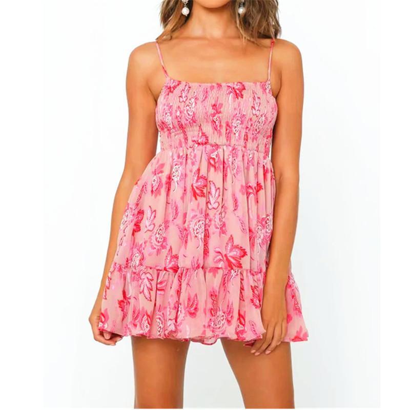 Спагетти ремень Женской одежды Мода Тонкой Цветочная Печатное Ruffle Мини-платье лето женщин Slash шейного платья