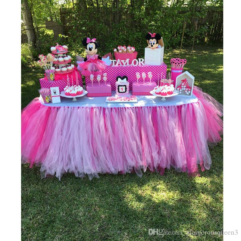 80*100table skirt mesh table skirt wedding birthday party decoration Newborn Baby 1st Birthday Party High Chair Skirt Tulle Tutu Glitter Tab