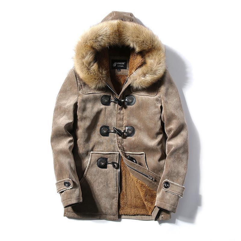 Les nouveaux hommes de mode coupe-vent manteaux coton col de fourrure à capuchon hommes édredons, plus chaud velours vestes chute lâche poches bateau vêtements T200115