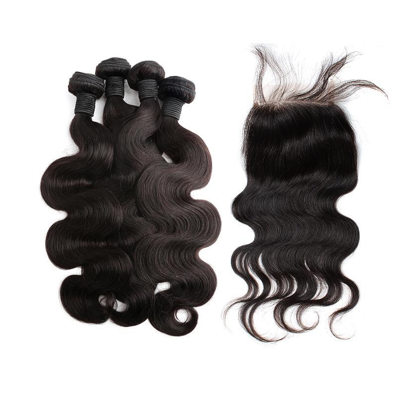 Greatremy®フリーパート人間の髪の束のボディーウェーブブラジルのインドのマレーシアのペルーのバージンヘアバンドルとレースの閉鎖5pcs