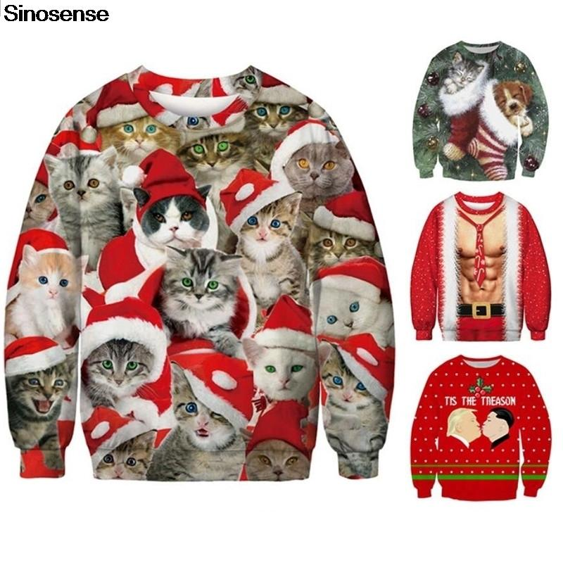 Ugly Christmas Sweaters 2020 Mens 3xl 2020 New Funny 3D Print Cat Sweater Men Women Ugly Christmas