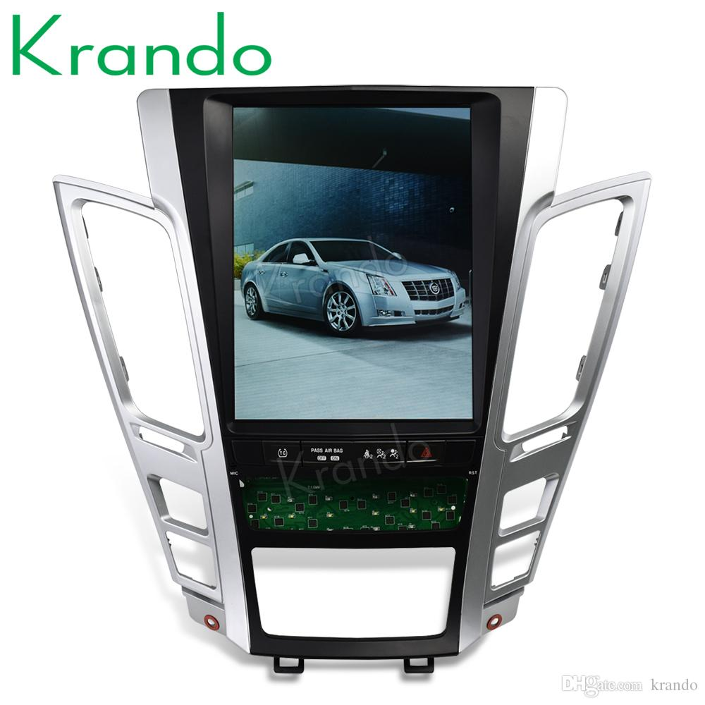 """Krando Android 8.1 10.4"""" Tesla Vertical screen car dvd audio radio player for Cadillac Old CTS 2007-2012 gps navigation system"""