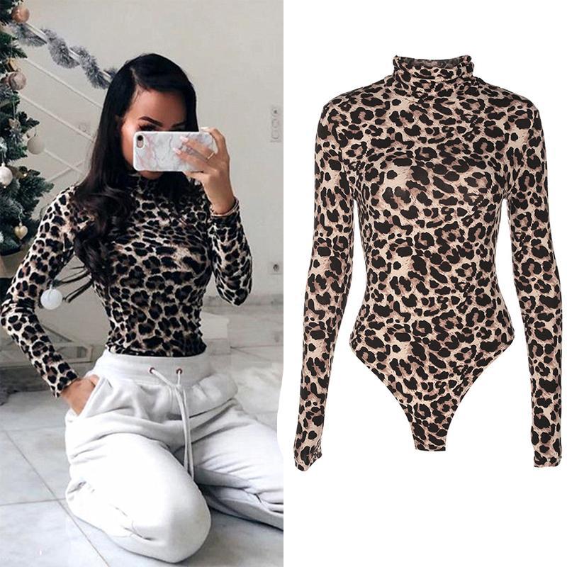 Moda Feminina Outono Sexy Bodysuits Casuais Leopardo Estampa de Manga Longa Macacões Bodysuits Skinny