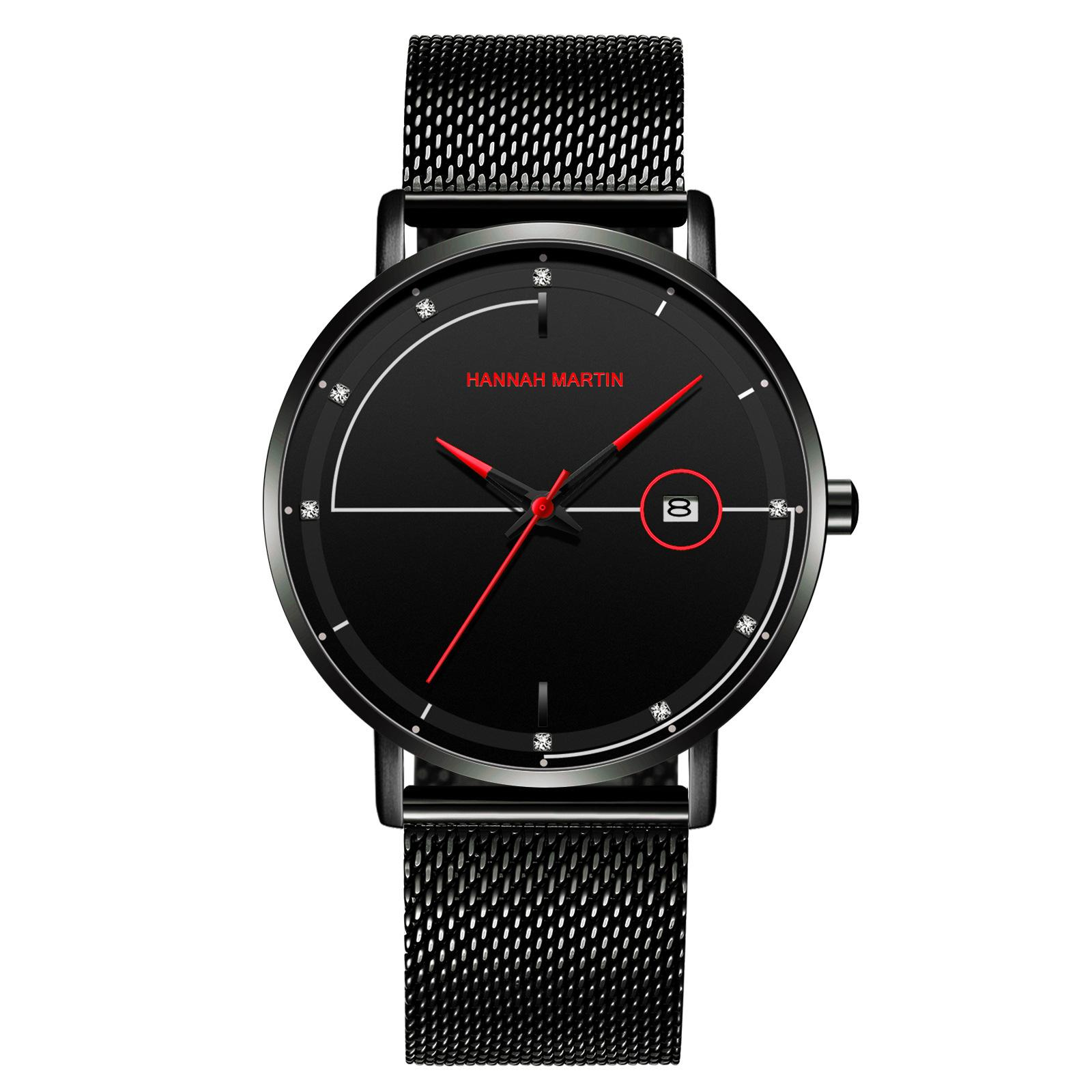 New 316 Stainless Steel Watch Band Men Wach Simple Style Black 4 Colour Quartz Movement Daily Waterproof Watch 40mm