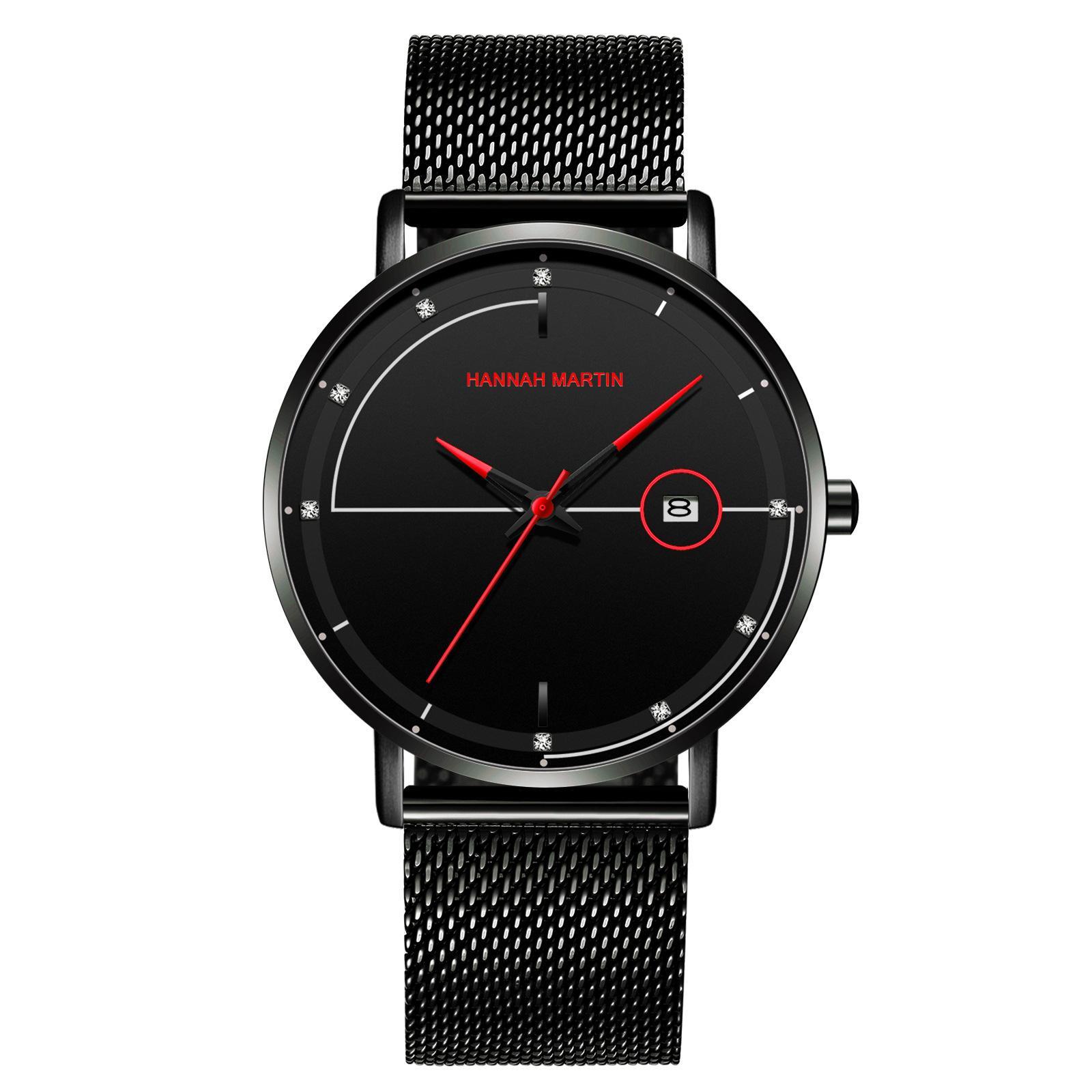 Nuevo reloj de acero inoxidable 316 hombres de venda Wach estilo simple Negro 4 cuarzo color Movimiento Diario impermeable reloj 40mm