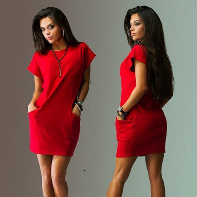 Kadın Giyim Kadın dizayn edilmiş elbiseler Yaz Kadın Elbise Kısa Kollu O Boyun Cep Kadın Elbise Katı Office Lady Çalışma Elbise vestidos