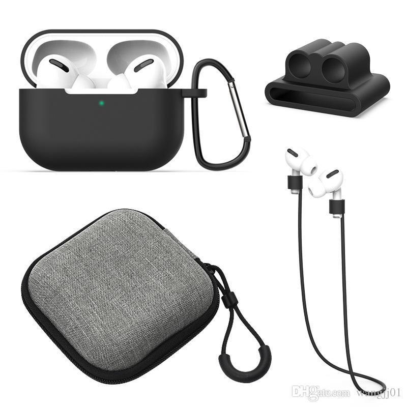 Наушники Чехол для Apple Airpods 1/2 3pro зарядки Силиконовые Наушники Чехлы Металлические пряжки + талреп + чехол + наушники + сумка для Airpods