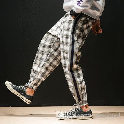 4 Couleurs Hommes Streetwear Hip Hop Casual Plaid Pantalon Mâle Femmes Mode Lâche Harem Pantalon Couple Pantalon Jogger Pantalon de Jogging