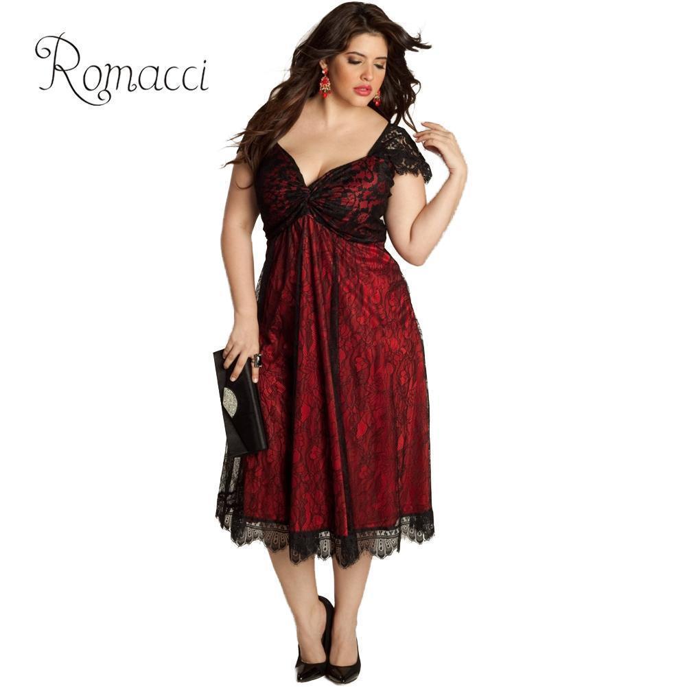 Romacci Kadınlar 3XL 4XL 5XL Artı Boyutu Elbise Sevgiliye V Boyun Cap Sleeve Çiçek Dantel Elbise Midi-buzağı Zarif Seksi Kulübü Parti Elbise T190608