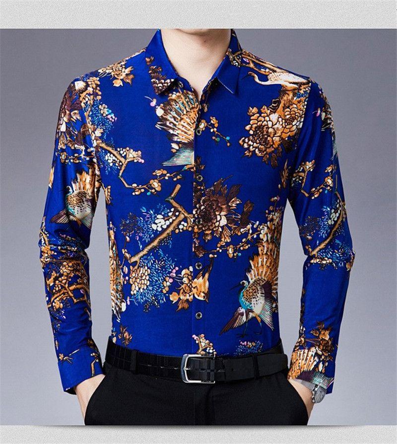 Floral Print Mens Casual Shirt Designer Paon Mode Homme Printemps Automne Vêtements Chiese Styles Imprimé Chemise
