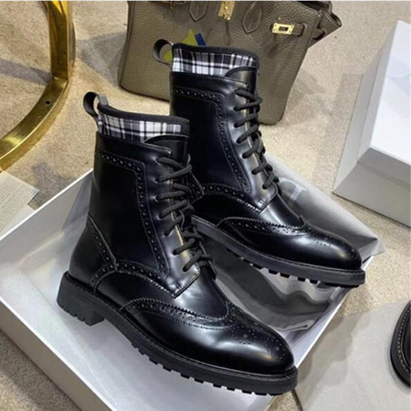 Desing Bottines Femmes Croix-tied Chaussures Femme d'hiver en cuir noir de moto bottillons lacent Botas Mujer Invierno 2019