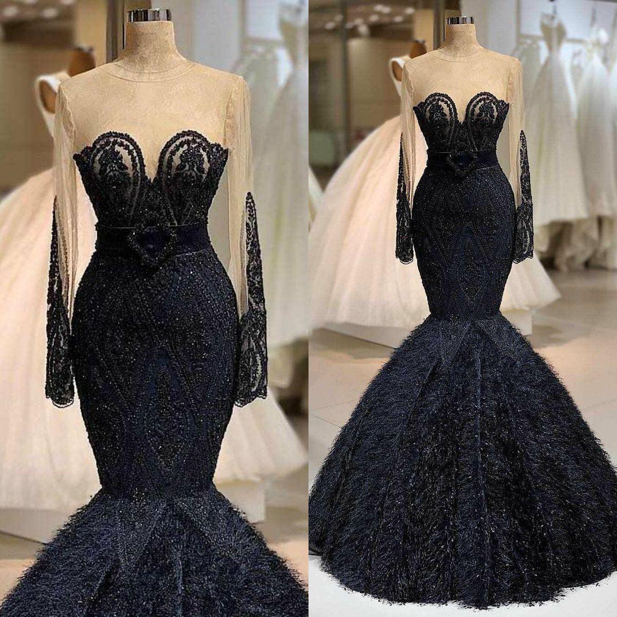 2020 Luxury Mermaid Arabic Evening Dresses Jewel Neck Beaded Feather Floor Length Long Sleeve Prom Dress Formal Party Wear