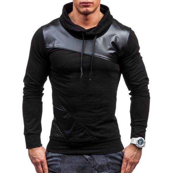 Leather Panelled Mens Tshirts Casual Slim Long Sleeved High Collar T Shirts Fashion Mens Tees