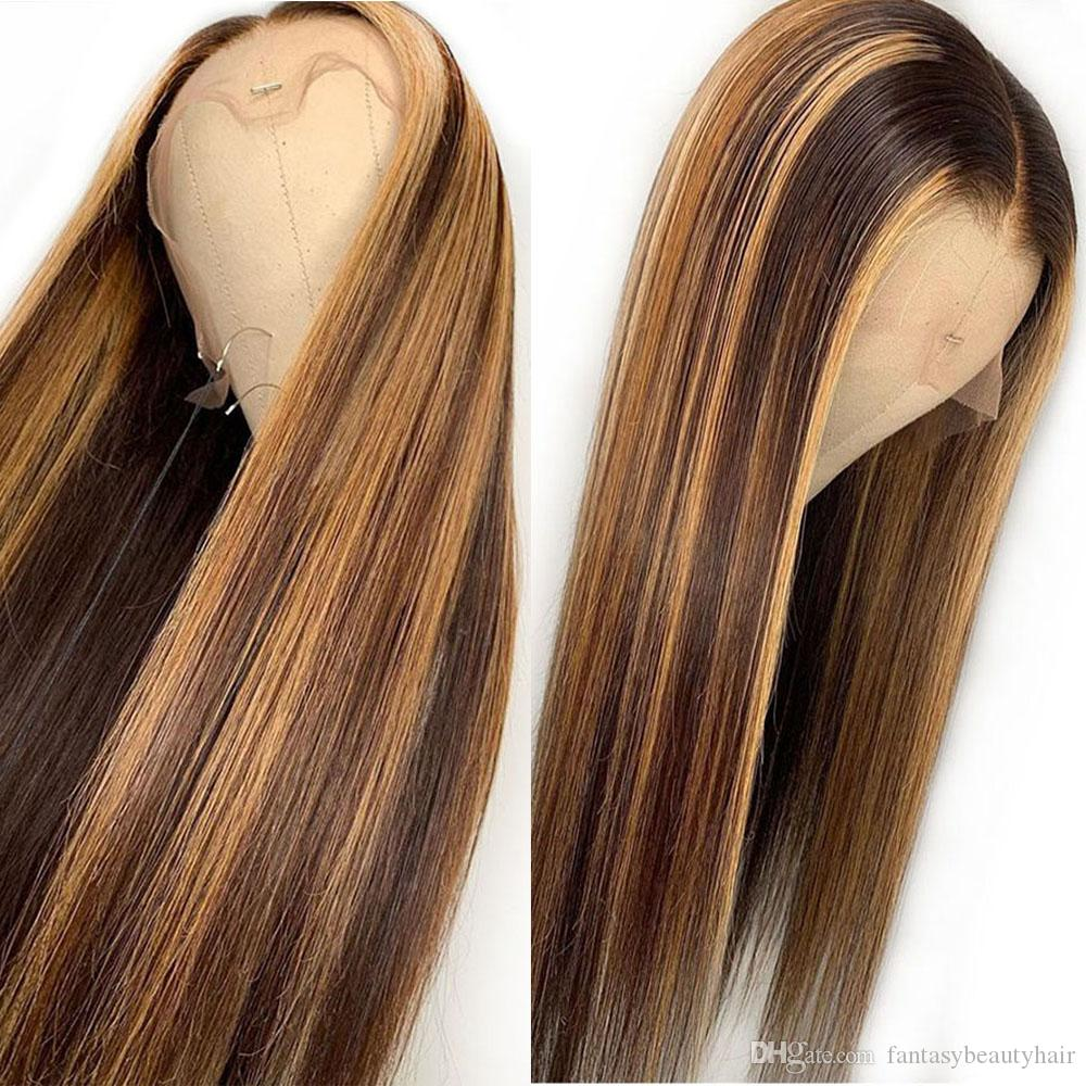 Long Straight Highlight Blonde Color Lace Front Human Hair Wigs Pre plucked With Baby Hair Brazilian Remy Hair 360 Wigs