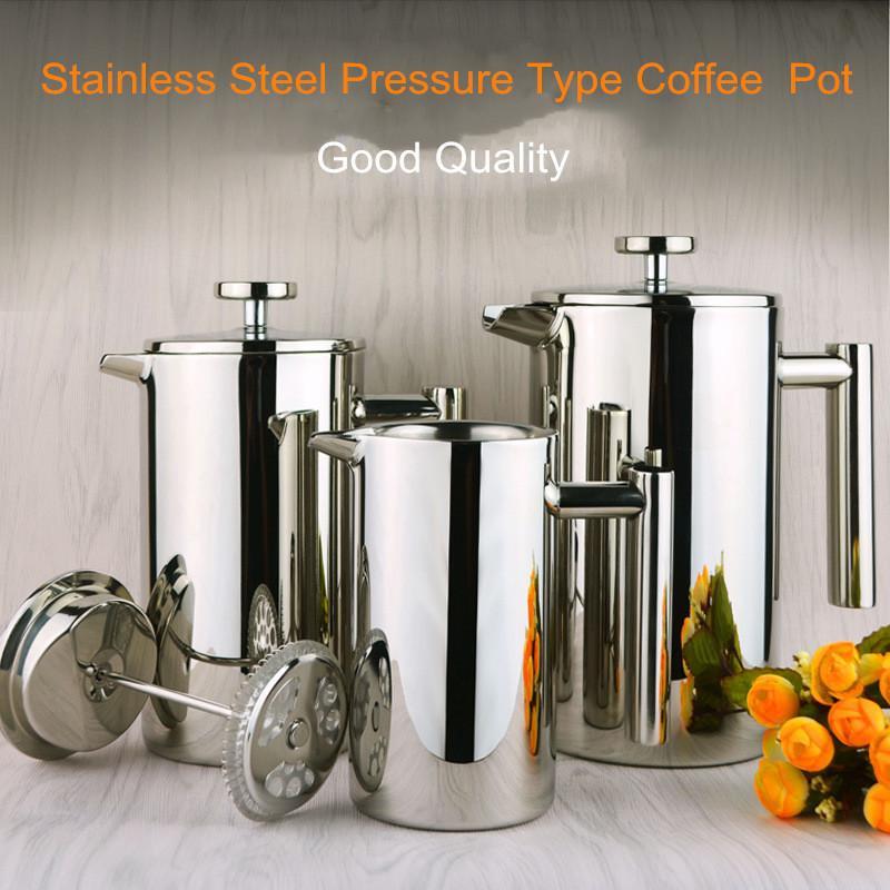 304 из нержавеющей стали с двойным слоем кофейник ручной французский кофейник фильтр высокого давления сделал чай трансграничная специальный кофейник