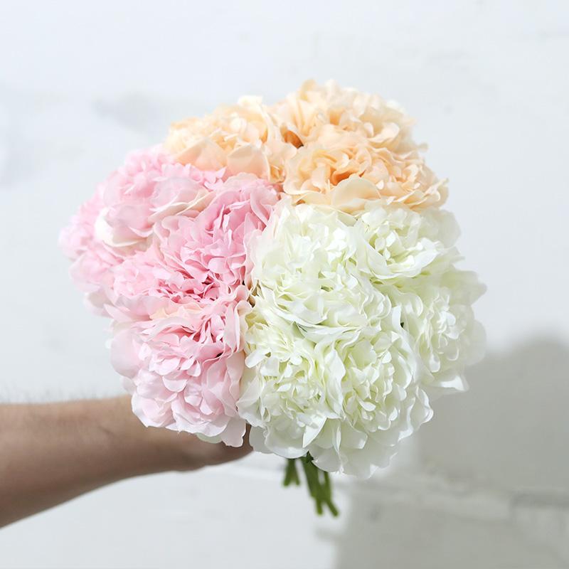 5 헤드 로즈 핑크 실크 모란 인공 꽃 수국 신부 꽃다발 웨딩 홈 장식 파티 저렴한 가짜 꽃 가짜