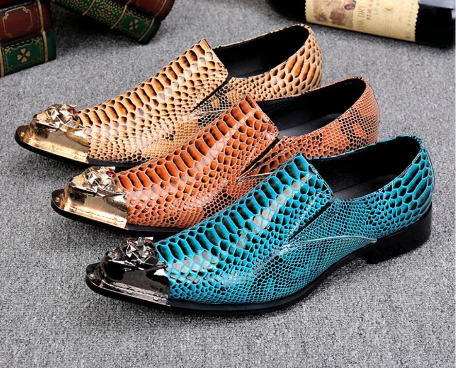 Avrupa sivri burun oxfords Snakeskin tahıl erkek elbise ayakkabı erkek İş deri ayakkabı podyumları defile parti ayakkabı