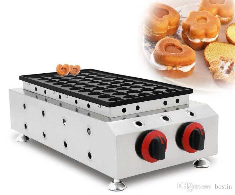 Comercial 50 hoyos poffertjes eléctricos fabricante de panqueques en forma de corazón waffle pastel fabricante de café restaurante pastel merienda equipo
