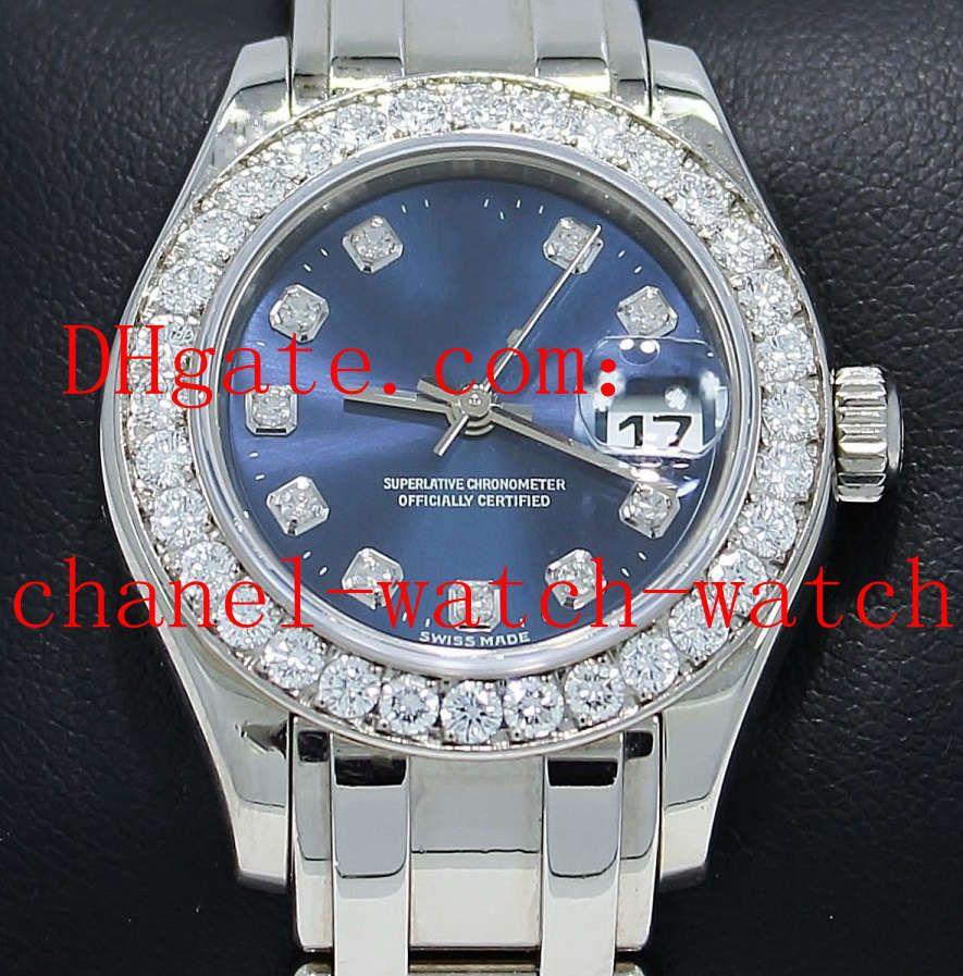 Luxe Haute Qualité Masterpiece Pearlmaster 80299 18K W or Diamond Bezel Dial Lady mécanique Montre Automatique Montres de femmes