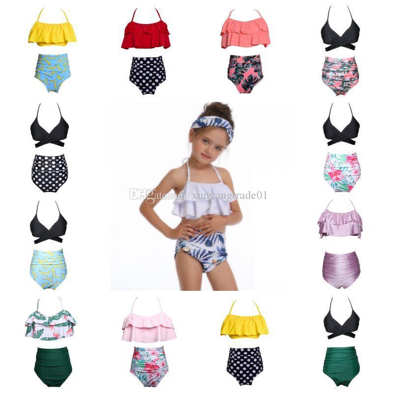여자 수영복 2 개 어린이 Kids Suspender Backless Tops Triangle High 허리 바지 수영복 비치 수영복 수영복 13colors 1-14years Q213