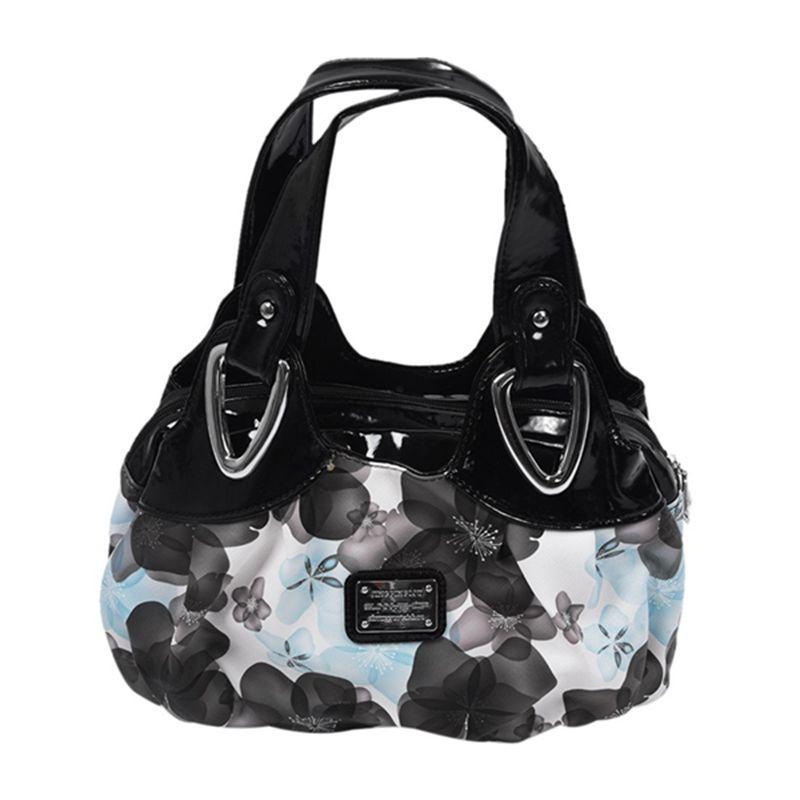 Adatti la borsa di cuoio delle donne PU Borsa Borsa di stampa borse Satchel -Dream fiore blu + Handstrap nero